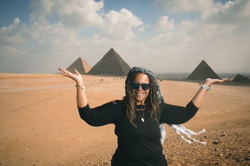 Our clients carry on her hands the great Pyramids of Giza